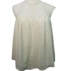 Alythea Sleeveless Lace Crochet Babydoll Pleated S